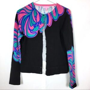 Lilly Pulitzer Black Cardigan w/Pink, Green, Blue